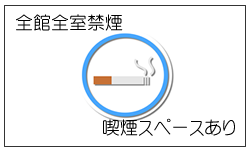 Entirely non-smoking in all facilities (there is smoking space)